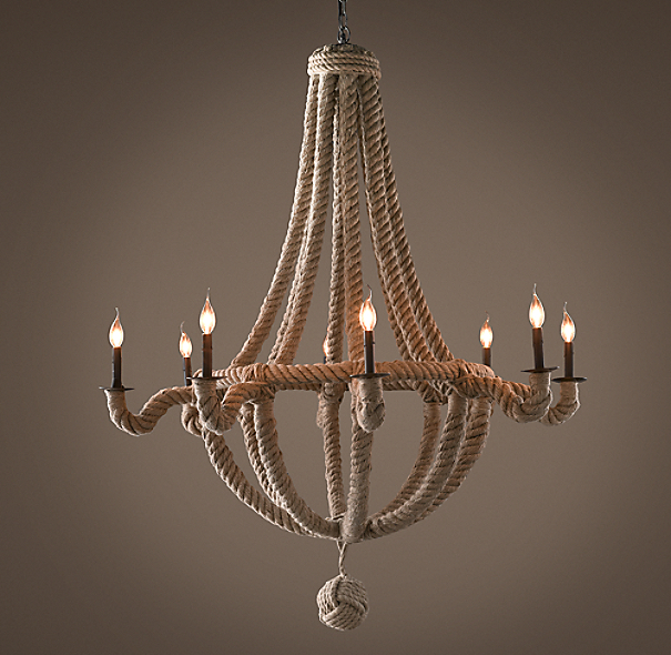 French Empire Rope 8-Arm Chandelier