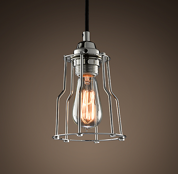 Industrial Cage Filament Pendant Polished Nickel
