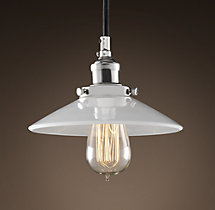 Milk Glass Filament 7½ Pendant Polished Nickel