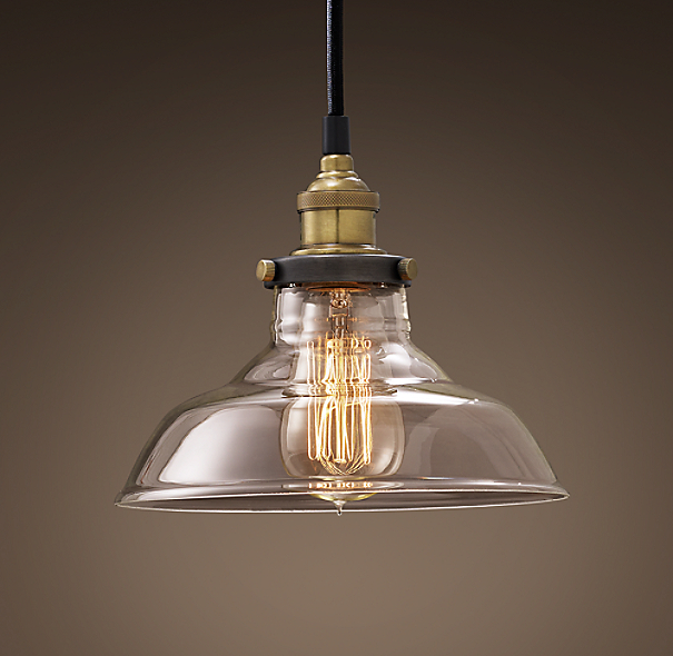 20th c factory filament clear glass barn pendant