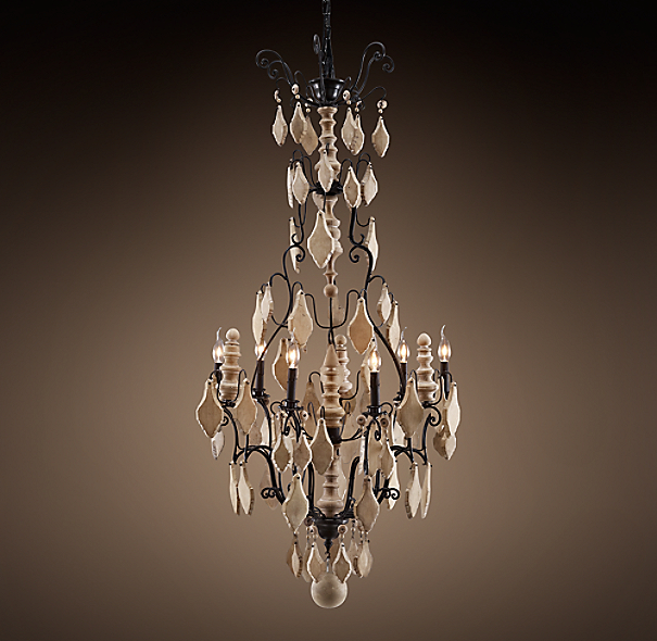 Versailles Wood Teardrop Chandelier Large