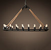 Rope Filament Rectangle Chandelier Large