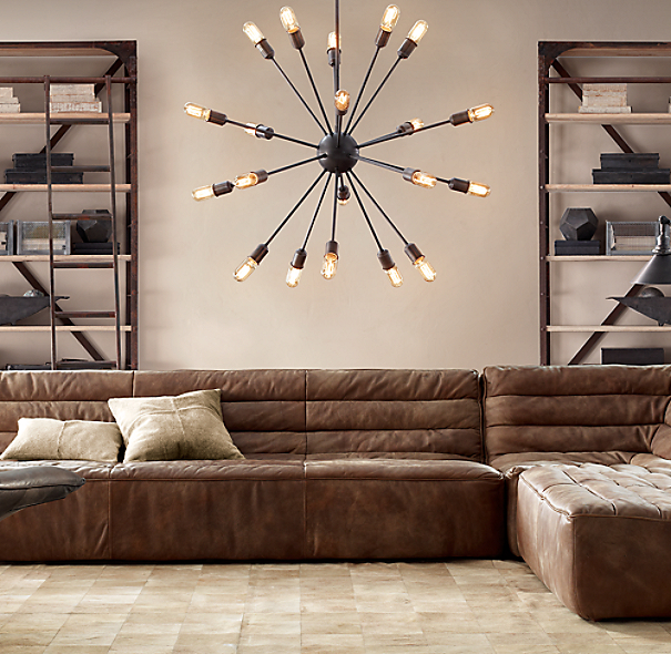 Sputnik Filament Chandelier Aged Steel Large