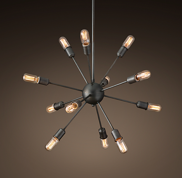 Sputnik Filament Medium Chandelier - Aged Steel