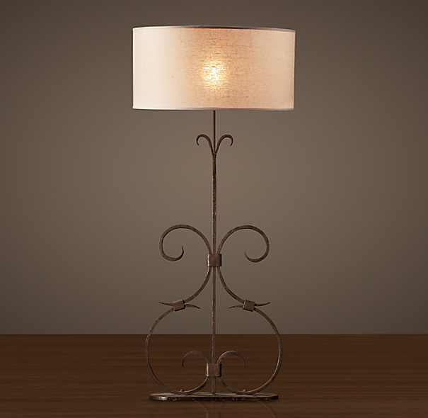 French iron scroll floor lamp for Metal scroll floor lamp