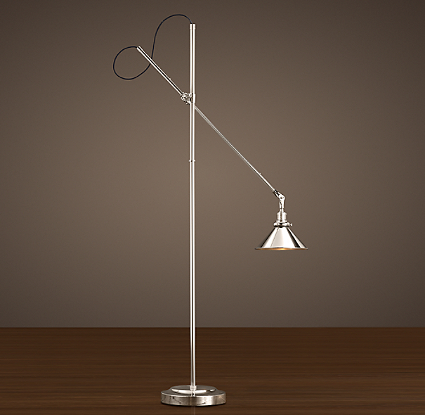 1900S Machinist Floor Lamp Polished Nickel