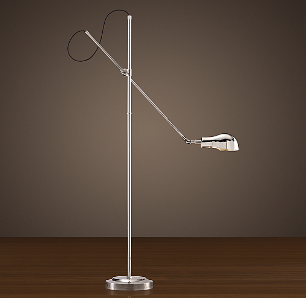 1900s Pharmacy Floor Lamp Polished Nickel