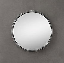 Antiqued Riveted Mirror Round