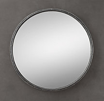 Antiqued Rivet Mirror Round
