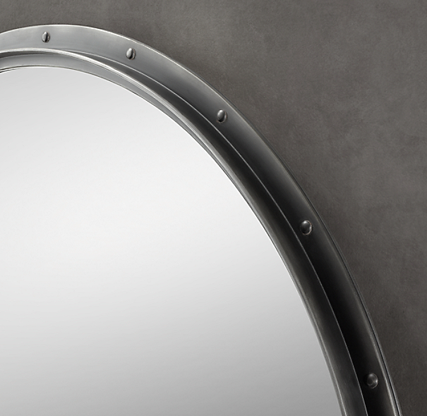 Antiqued Riveted Mirrors Round