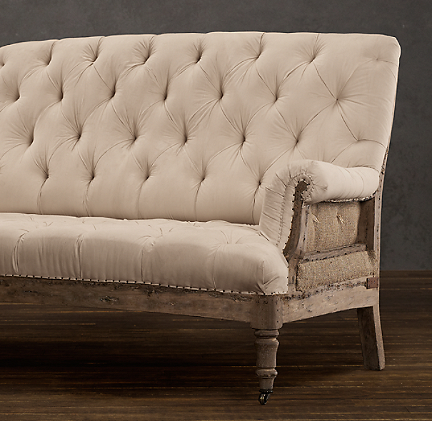 Deconstructed French Victorian Settee Antiqued Cotton