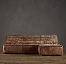Chelsea Leather Right-Arm Sofa Chaise