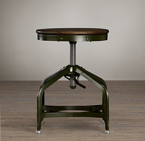 Vintage Toledo Dining Stool Antique Green