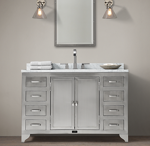 1930s Laboratory Stainless Steel Single Extra Wide Vanity