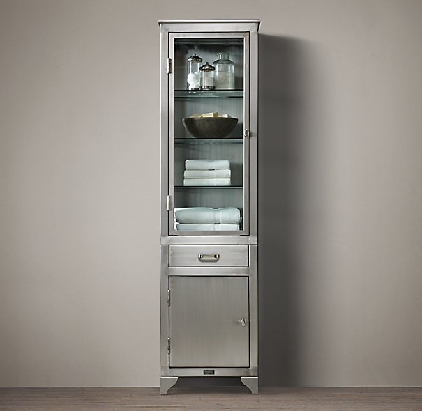 1930s Laboratory Stainless Steel Tall Bath Cabinet