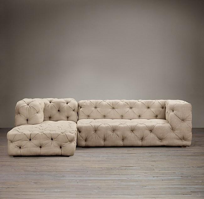 Preconfigured Soho Tufted Left Arm Sofa Chaise Sectional