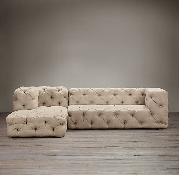 Soho Tufted Upholstered Left Arm Sofa Chaise Sectional