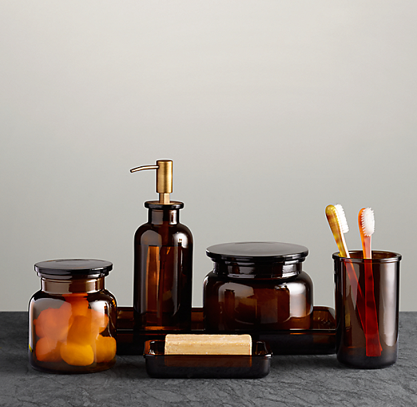Pharmacy Amber Glass Bath Accessories