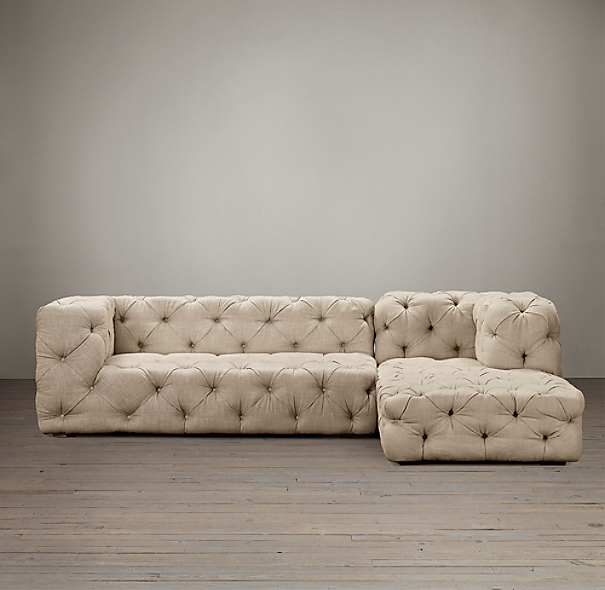 Soho tufted upholstered right arm sofa chaise sectional for Restoration hardware tufted sectional sofa