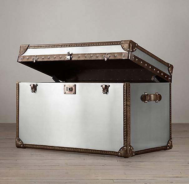 Mayfair Steamer Trunk Tall Coffee Table Brushed Steel
