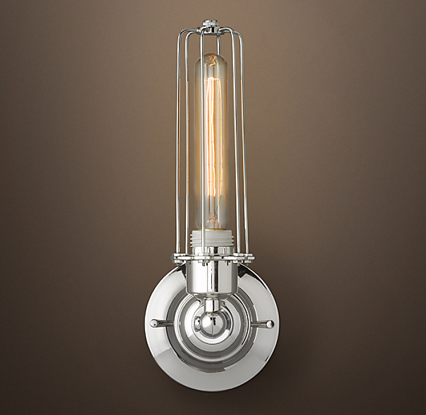 Edison Caged Sconce Polished Nickel