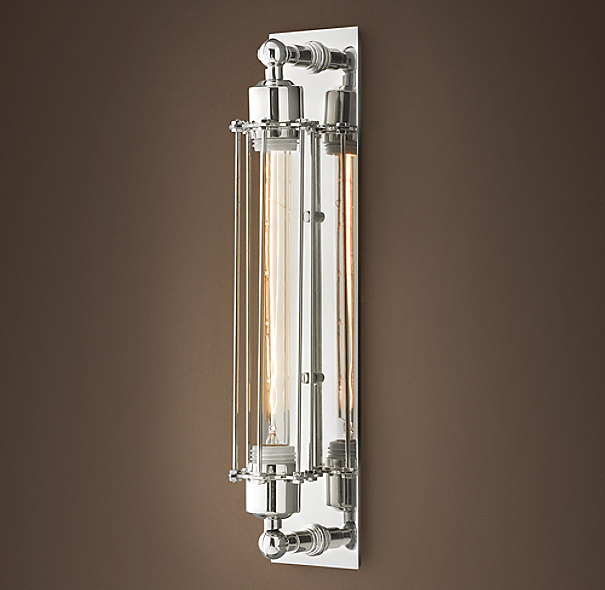 Grand Edison Caged Sconce Polished Nickel