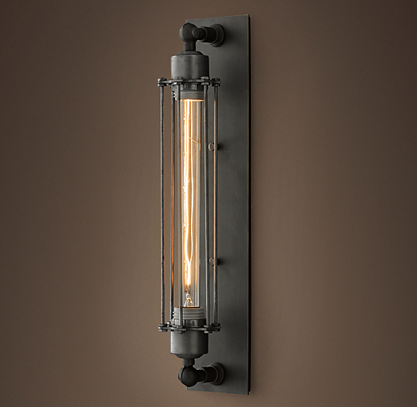 Grand Edison Caged Sconce Gunmetal