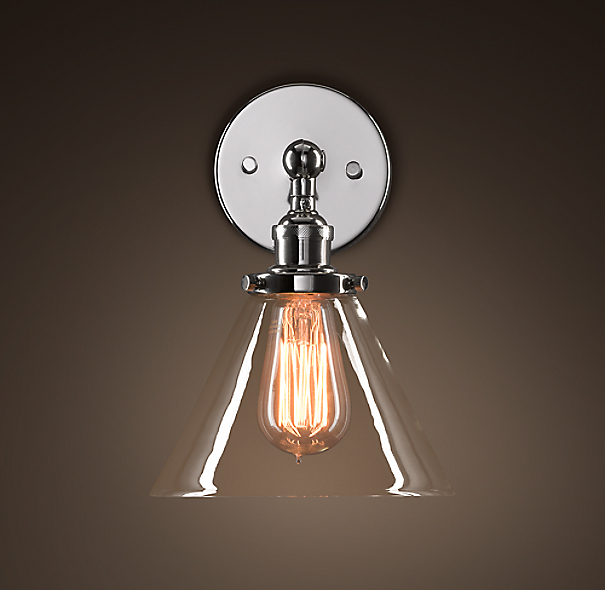 Glass Funnel Filament Sconce Polished Nickel
