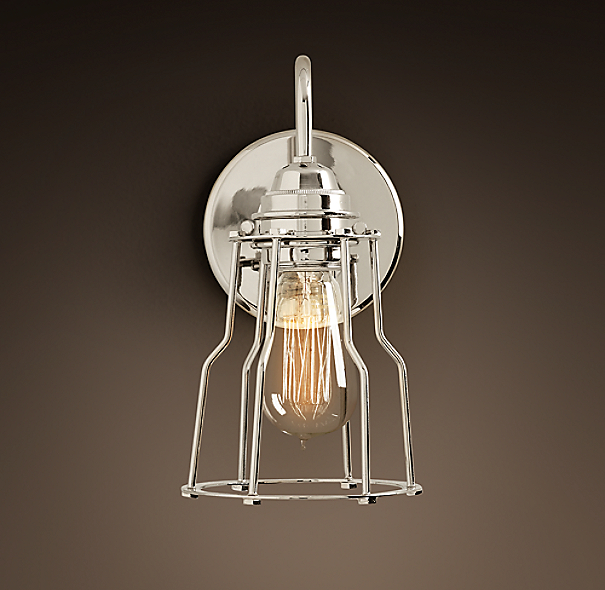 Industrial Filament Sconce Polished Nickel