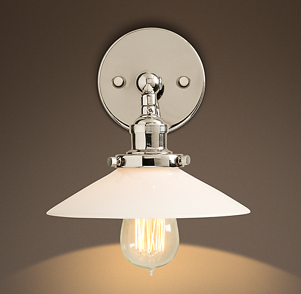 Milk Glass Filament Sconce Polished Nickel