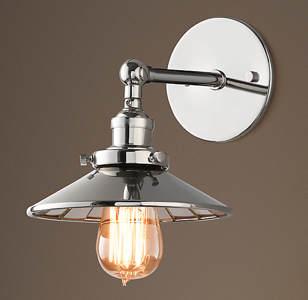Reflector Filament Sconce Polished Nickel