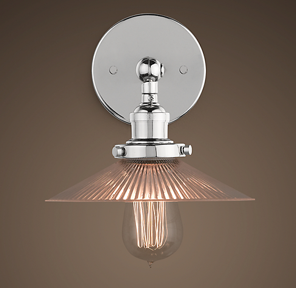 Ribbed Glass Filament Sconce Polished Nickel