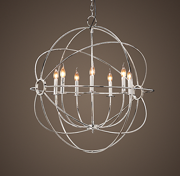 Foucault's Iron Orb Chandelier Polished Nickel Medium