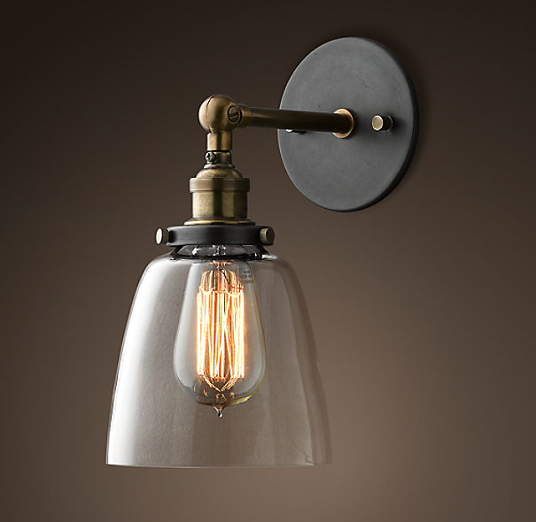 Glass Cloche Filament Sconce Aged Steel