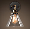 Glass Funnel Filament Sconce Aged Steel