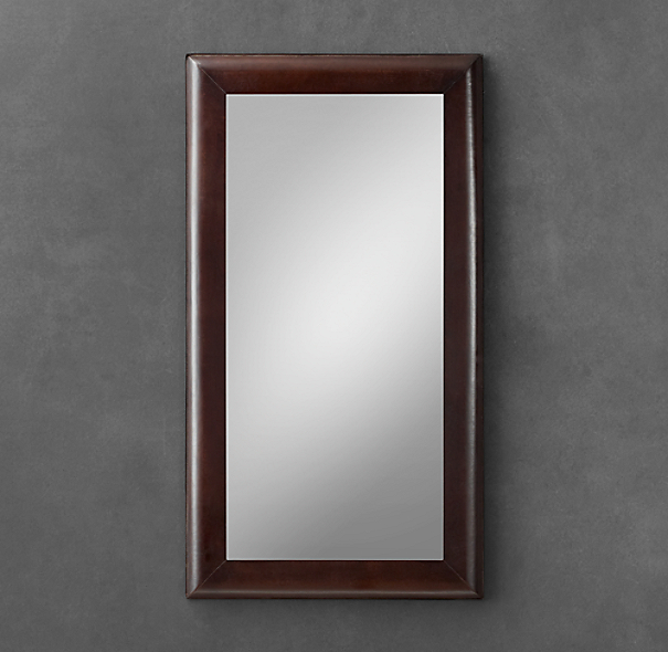 Leather Framed Mirror - Brown