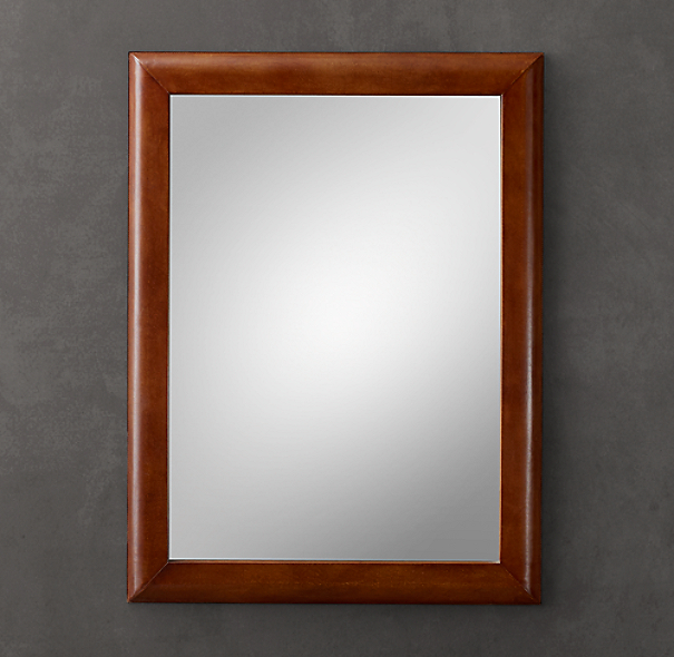 Leather Framed Mirror - Chestnut