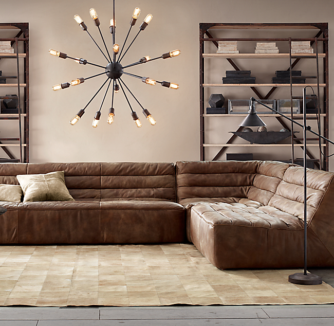 Sofa modern stoff  How to find the perfect leather sofa - Emily Henderson