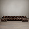 Soho Tufted Leather U-Chaise Sectional