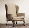 Deconstructed Queen Anne Wing Chair Antiqued Cotton