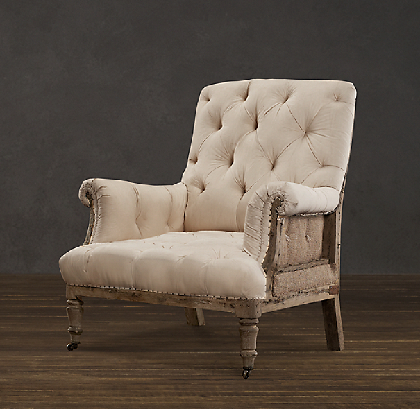 Deconstructed Tufted Roll Arm Chair Antiqued Cotton