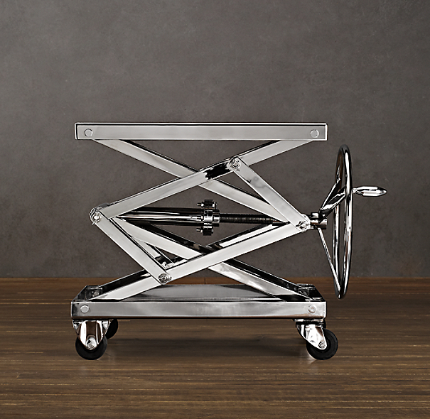 Industrial Scissor Lift Table Polished Stainless Steel (Set of 2)