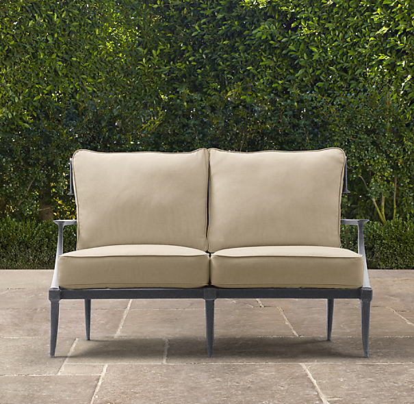 "52"" Klismos Luxe Sofa Weathered Zinc"