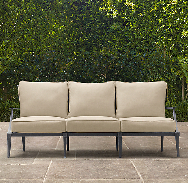"76"" Klismos Luxe Sofa Weathered Zinc"