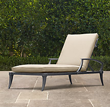 Klismos Luxe Chaise Weathered Zinc