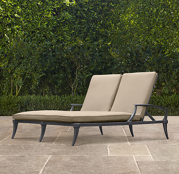 Klismos Luxe Double Chaise Weathered Zinc