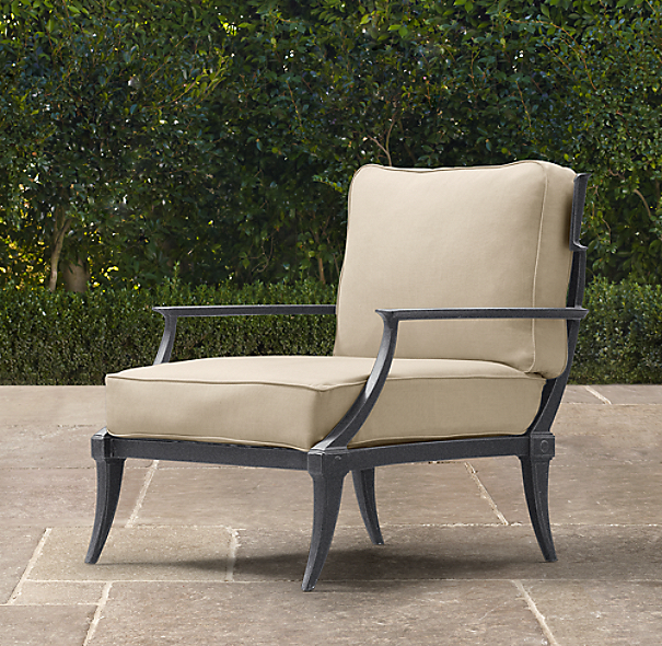 Klismos Luxe Lounge Chair Weathered Zinc