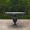 "48"" Klismos Small Round Dining Table Weathered Zinc"
