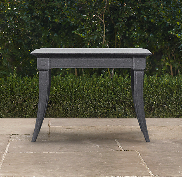 Klismos Square Side Table Weathered Zinc