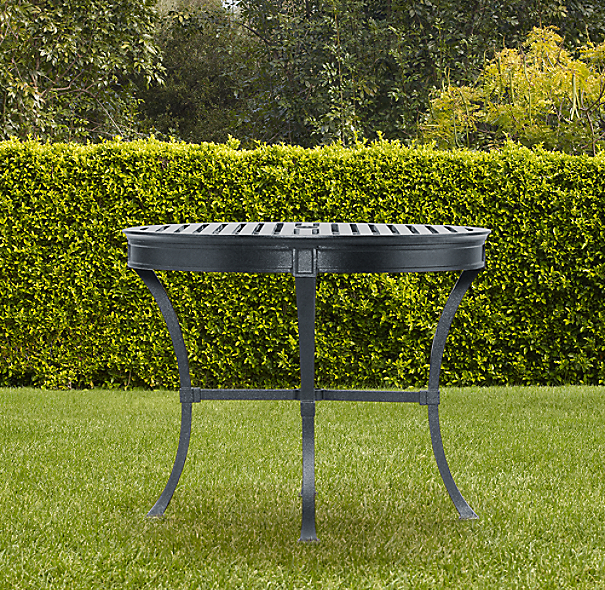 Antibes Small Round Dining Table Weathered Zinc